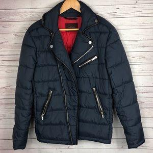 Zara Navy Blue Puffer Coat Size Small